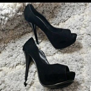 Qupid Black Velvet Stilletos
